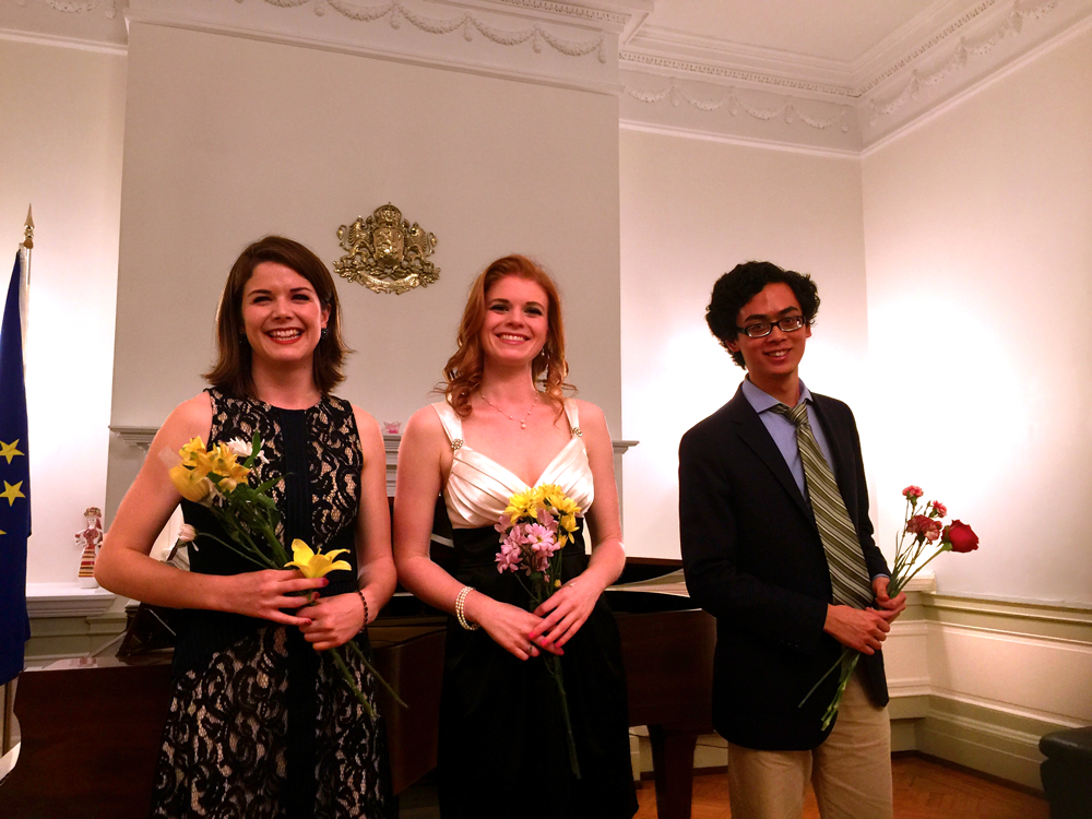 Soprano Grace Gilday, soprano Emily Casey, and bass Joseph Chee. Joy Schreier accompanied them.